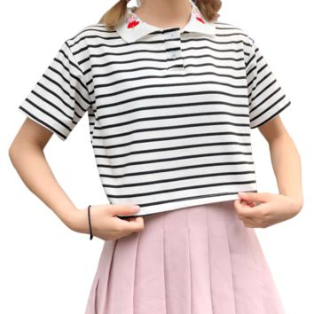 Crop Tops Women 2018 korean summer bts Cropped Feminino harajuu kawaii love embroidered Lapel loose Short Sleeve Striped Top 2XL