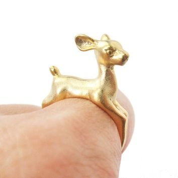 Baby Deer Doe Shaped Sleek Animal Wrap Around Ring in Gold | US Size 5 to 8