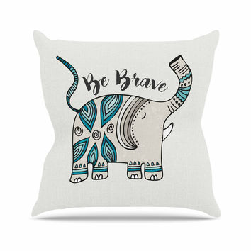 "Pom Graphic Design ""Be Brave"" Teal Typography Outdoor Throw Pillow"