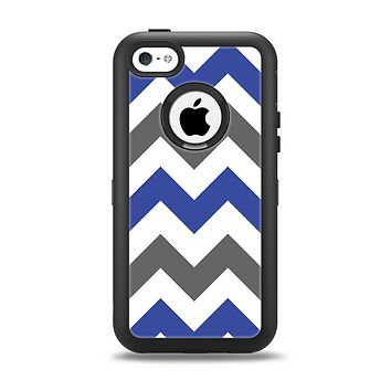 The Gray & Navy Blue Chevron Apple iPhone 5c Otterbox Defender Case Skin Set
