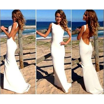 Sexy Backless Slim Fit Solid Color Maxi Dress