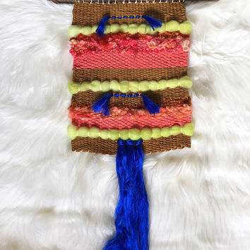 Handwoven Wall Art / Woven Wall Hanging Tapestry / Fiber Art / Gold, Coral, Chartreuse, Orange, Royal Blue