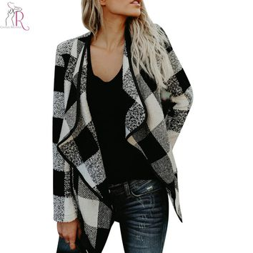 Women Plaid Wide Lapel Blend Coat 2017 Winter Open Front Long Sleeve Patchworked Black Hem 3 Colors Casual Outwear