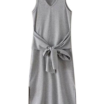Light Gray V-neck Tie Front Side Split Ribbed Dress