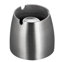 Ashtray Stainless Steel Silver Windproof Taper Cigarette Smoking Ash Tray with Column Bracket Size Small
