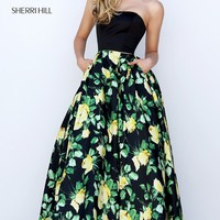 Long Print Strapless A-Line Prom Dress by Sherri Hill