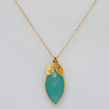 Personalized Marquise Shape Seafoam Aqua Chalcedony Vermeil Gold bezel set hand stamped initial necklace - bridesmaid gift
