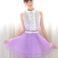 'The Katie' White Floral Embroidered Top with Purple Pleated Skirt