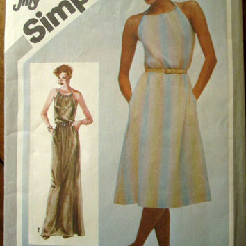 Halter Dress Vintage 80s sewing pattern maxi dress evening gown long dress Simplicity 5127 womens medium size 14 16
