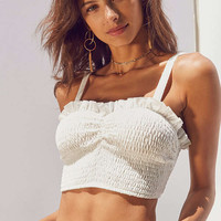 Kimchi Blue Smocked Sweetheart Cropped Cami | Urban Outfitters