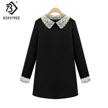 2018 Fashion New Spring Victoria Beckhams  Peter Pan Lace Collar Loose Plus Size 5XL Long-Sleeves Tshirt Dress D7N707A