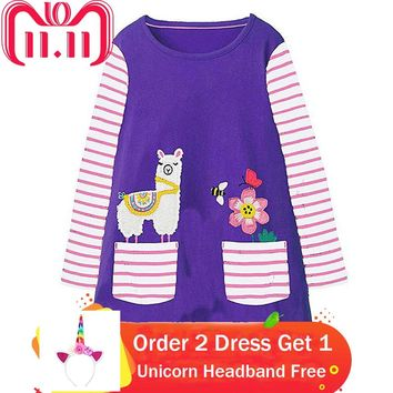 Baby Girl Clothes Autumn Winter 2018 Brand Toddler Girls Dresses with Animal Applique Long Sleeve Princess Dress Kids Clothing