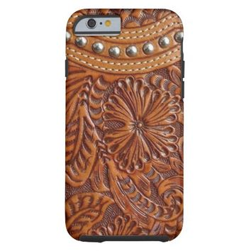 Rustic western country pattern tooled leather  iPhone 6  Case