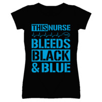 This Nurse Bleeds Black and Blue Football T Shirt - Carolina Panthers Team Colors