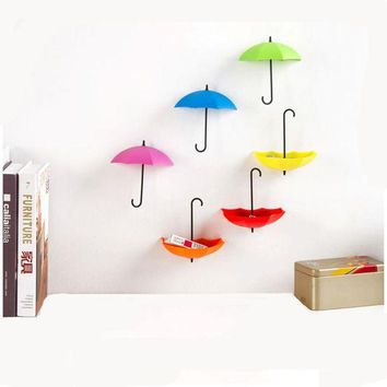 LMFUNT 6PCS/Set Colorful Umbrella Shape Wall Hooks Umbrella Shape Wall Decor Racks Wall Organizer Containers for Kitchen Bathroom
