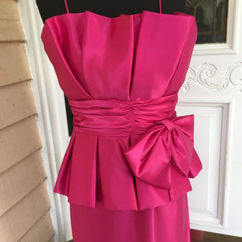 1980s Hot Pink peplum Formal gown