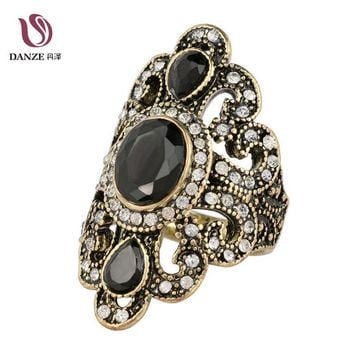 Danze Vintage Antique Gold Color Exquisite Resin Stone Men Finger Rings Hollow Out Jewelry For Women Friendship Gift