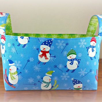 Large Fabric Holiday Bin Basket ~ Skiing Snowmen with Green and White Snowflake