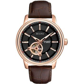 Bulova Mens Automatic - Black Dial with Rose Gold-Tone Case - Leather Strap