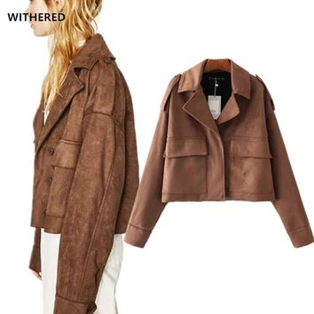 freeshipping 2017 new suede leather bomber jacket women vintage Shoulder strap army uniform oversize women Jacket coat plus size