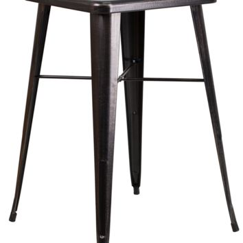 Square Black Antique Gold Metal Indoor-Outdoor Bar Height Table