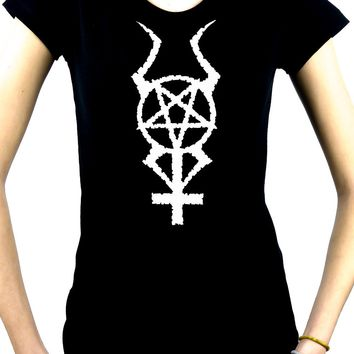 Horned Pentacross Women's Babydoll Shirt Occult Inverted Pentagram & Cross