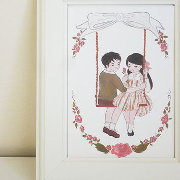 The Rose Swing 8x11 PRINT LARGE (twins siblings valentines boy girl children's bedroom nursery decor art)