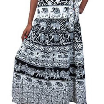 Indian Maxi Wrap Skirt Sarong Hippie Gypsy Boho Wraparound Skirts, Gift Idea