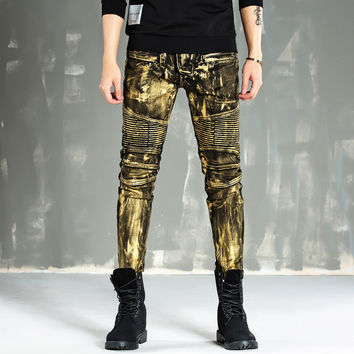 Hot Sale Pants Gold Slim Stretch Jeans [10366812419]