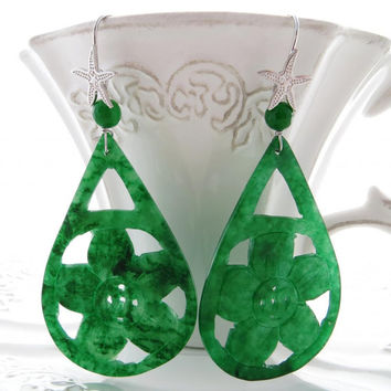 Green carved jade earrings,  drop gemstone jewelry,  burma jewels, italian sterling silver 925, starfish bijoux,  gioielli Made in Italy
