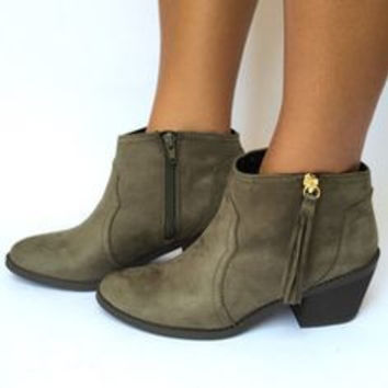 Round Up Booties In Olive