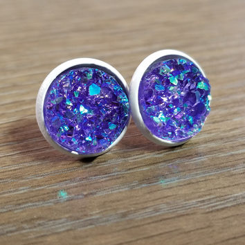 Druzy earrings-  Purple drusy - white stud druzy earrings
