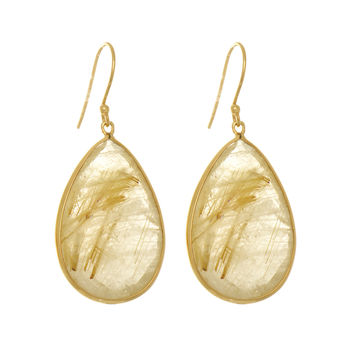 Golden Rutilated Quartz Teardrops Earrings Set In Yellow Gold Plated Sterling Silver