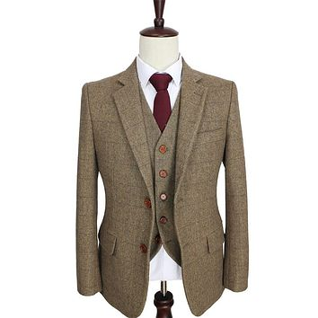 2016 tailor made slim fit suits for men retro Brown Herringbone Tweed wedding dress custom mens 3 piece suit Blazers