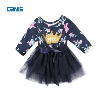 Fashion Toddler Kids Newborn Baby Girls Dress Long Sleeve Party Pageant Cotton Cute New Dresses