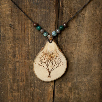 Wood Burned Tree Pendant with mixed Jasper semiprecious stones on natural hemp cord necklace