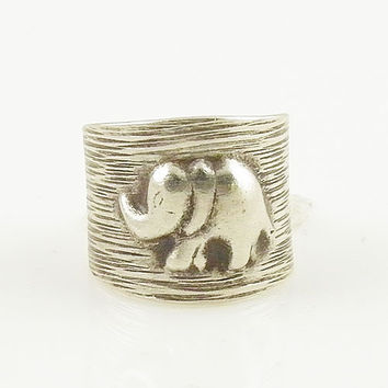 Elephant Sterling Silver Animal Wrap Ring