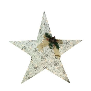 "36"" Lighted 2.5-D Country Rustic Birch Star Christmas Decoration - Clear Lights"