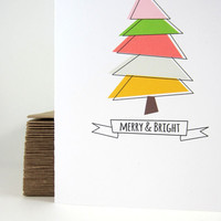 Merry and Bright Christmas Card, Holiday Greeting Card, Colorful Card - Single