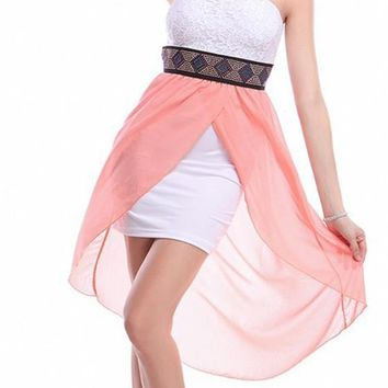 pink Patchwork Rhinestone Belt Irregular Bandeau Midi Dress