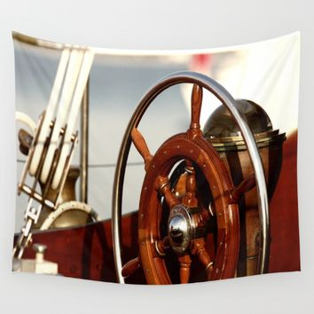 Staying on course at sea Wall Tapestry by Tanja Riedel