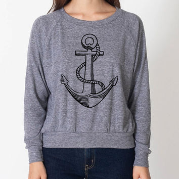 Hipster Anchor Cool Sweater Fun Adorable American Apparel Womens Tri Blend Light Weight Raglan Pullover