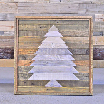 Reclaimed Wood Wall Hanging, Rustic Christmas Decor, Large Mosaic Wood Art, Wood Wall Art