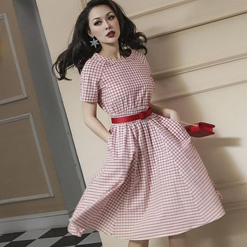 Le Palais Vintage 1950's Laura Petrie Plaid and Gingham Pattern Dress - Limited Edition