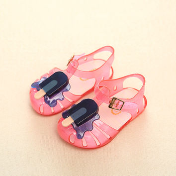 11.8-19.8cm 2017 Mini Melissa ice cream popsicles fruit baby girls sandals shoes summer jelly shoes for toddlers