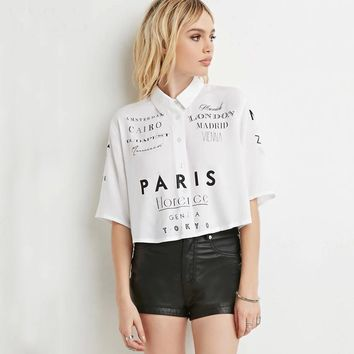 Short sleeve peter pan collar cropped tops women letter print button down white shirts ladies girls chic oversized loose blouses