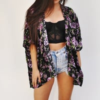 Kimono Style Cover Up Purple Roses
