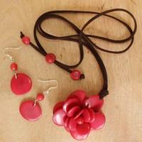 Small Red Tagua Flower on Leather with Earrings