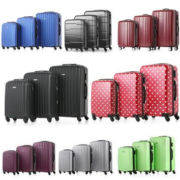 "Fashion Design Luxury Shiny 3PCS Luggage Set Carry-on Suitcase PC + ABS Trolley 20""/24""/28"" Hard Shell TSA Lock Spinner Set"