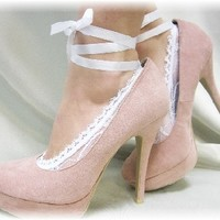 FT6 Ballerina White Lace Up footlets, lace socks for heels,lace socks from pumps, lacey anklets, boat socks, lace socks, lace peep socks, footlets, peep toes, lace sock, sexy socks, footies, no show socks, sexy stockings, ladies socks, wedding shoes,